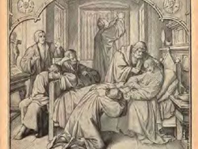 Luther & friend praying at Melancthon's bedside